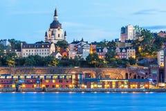 斯德哥尔摩,瑞典晚上风景  库存图片