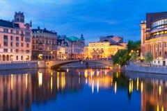斯德哥尔摩,瑞典晚上风景  免版税库存照片