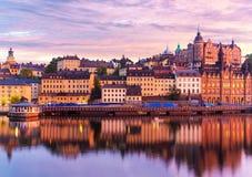 斯德哥尔摩,瑞典晚上风景  免版税图库摄影