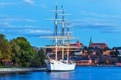 斯德哥尔摩,瑞典晚上风景 图库摄影