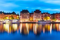 斯德哥尔摩,瑞典晚上风景 库存照片