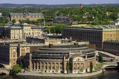 斯德哥尔摩,瑞典空中全景  免版税库存图片