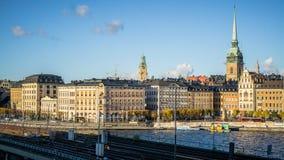 斯德哥尔摩,瑞典都市风景有观点的Gamla斯坦 图库摄影