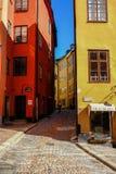 斯德哥尔摩,瑞典,乘坐的骑自行车者 库存照片