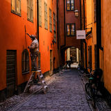 斯德哥尔摩,瑞典,在老镇的重建者 免版税库存照片