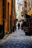 斯德哥尔摩,瑞典-一名走的妇女 免版税图库摄影