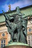 斯德哥尔摩,瑞典- 2016年8月19日:在古斯塔沃E雕象的看法  免版税库存照片