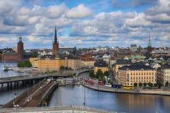 斯德哥尔摩,瑞典- 2016年8月20日:斯德哥尔摩fr鸟瞰图  库存照片