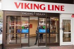 斯德哥尔摩,瑞典- 10月25 :轮渡公司北欧海盗线的终端设施在斯德哥尔摩,瑞典, 2016年10月25日 免版税库存图片