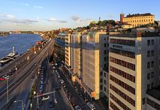 斯德哥尔摩,瑞典-波罗的海运河和Stadsgardsleden bouleva 图库摄影