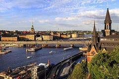 斯德哥尔摩,瑞典-老镇处所有市政厅的a Gamla斯坦 免版税库存图片