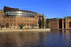 斯德哥尔摩,瑞典-老镇处所有Pa议院的Gamla斯坦  免版税库存图片