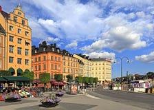 斯德哥尔摩,瑞典-老镇处所-在G的Kornhamnstorg街道 库存照片