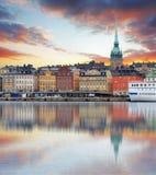 斯德哥尔摩,瑞典-老镇的全景, Gamla斯坦 库存图片