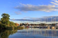 斯德哥尔摩,瑞典- Djurgarden海岛-从王子Eug的看法 图库摄影
