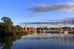 斯德哥尔摩,瑞典- Djurgarden海岛-从王子Eug的看法 免版税库存照片