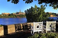 斯德哥尔摩,瑞典- Djurgarden海岛-从王子Eug的看法 免版税库存图片