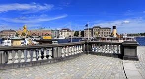 斯德哥尔摩,瑞典- Norrmalm从老镇处所的区视图 库存图片