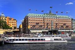 斯德哥尔摩,瑞典- Norrmalm从老镇处所的区视图 图库摄影