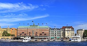 斯德哥尔摩,瑞典- Norrmalm从老镇处所的区视图 免版税图库摄影