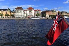 斯德哥尔摩,瑞典- Norrmalm从老镇处所的区视图 库存照片