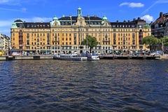 斯德哥尔摩,瑞典- Norrmalm从老镇处所的区视图 免版税库存图片