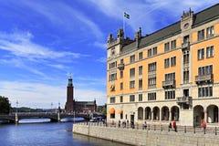 斯德哥尔摩,瑞典- Norrmalm从老镇处所的区视图 免版税库存照片
