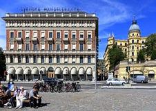 斯德哥尔摩,瑞典- Norrmalm多数突出的sho区视图  库存图片