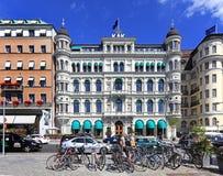 斯德哥尔摩,瑞典- Norrmalm多数突出的sho区视图  免版税库存图片