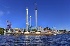 斯德哥尔摩,瑞典- Tivoli Grona隆德- Gronan -游乐园 库存图片