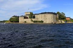 斯德哥尔摩, Vaxholm海岛,瑞典- XVI世纪堡垒Vaxholm 库存照片