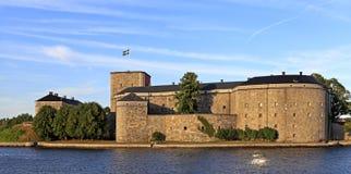 斯德哥尔摩, Vaxholm海岛,瑞典- XVI世纪堡垒Vaxholm 库存图片