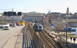 斯德哥尔摩 瑞典 市郊火车 库存照片