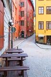 斯德哥尔摩 瑞典 露天咖啡馆在Gamla斯坦 免版税库存图片