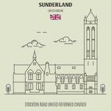 斯托克顿路团结的被改革的教会在森德兰,英国 地标 向量例证