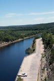斯托克顿水库水坝溢洪道 库存照片