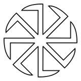 斯拉夫的slavonis标志Kolovrat标志太阳象黑色彩色插图平的样式简单的图象 图库摄影