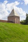 斯摩棱斯克有Avraamiev门的堡垒墙壁 库存照片