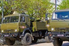 斯摩棱斯克,俄罗斯- 2018年5月03日:军用设备在前面 库存照片