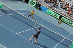 戴维斯杯网球赛,反对贝宁的塞浦路斯 免版税库存图片