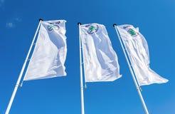 斯柯达经销权旗子在蓝天的 库存图片