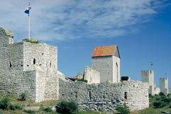 维斯比中世纪镇墙壁  库存照片