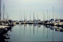 绍斯波特小游艇船坞Kenosha,威斯康辛 库存照片