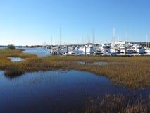 绍斯波特,北卡罗来纳小游艇船坞 免版税库存图片