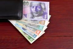 斯洛伐克克朗在黑钱包里 库存照片