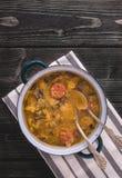 斯洛伐克全国圣诞节圆白菜汤用在自然本底的蘑菇 库存图片