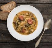 斯洛伐克圣诞节圆白菜汤用在自然backgrou的蘑菇 免版税库存照片