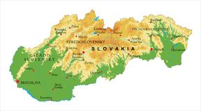 斯洛伐克地势图 免版税库存照片