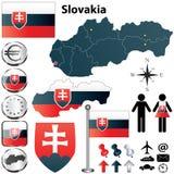 斯洛伐克映射 免版税库存照片