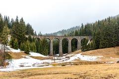 斯洛伐克火车高架桥历史桥梁在森林和山里 历史的铁路和运输 有雪的草甸在fo 免版税图库摄影